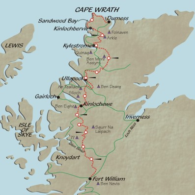 Overview of Bob's Cape Wrath Trail route