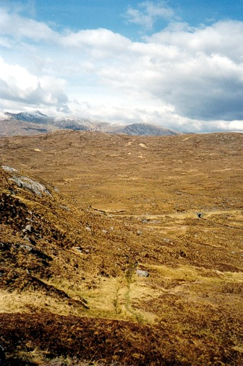 Looking north east down to old public road from Loch Loyne to Glen Shiel